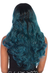 long and wavy two tone wig