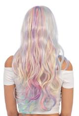 Pastel Rainbow Long Wavy Wig back