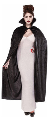 Long Black Collared Cape back