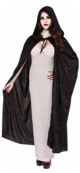 Long Black Hooded Cape back