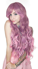 Long Wavy Rose Fade Wig back