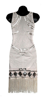 Beige Flapper Beaded Dress back