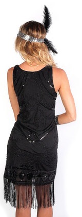 Black Flapper Beaded Dress back