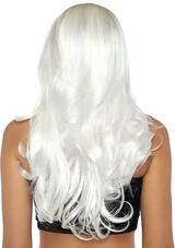Long Wavy White Wig back