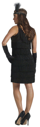 Womens Black Flapper Dress back