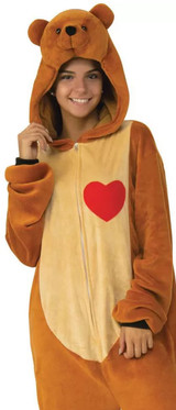 Teddy Bear Cozy Hooded Jumpsuit Halloween Outfit