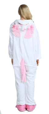 Pink unicorn costume onesie for women