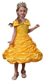 Belle Golden Gown Girl Costume Detailed