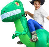 T-Rex Inflatable Adult Green Costume Detailed