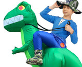 T-Rex Inflatable Kid Green Costume Detailed