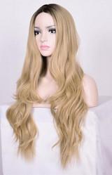 Long Blond Model Woman Wig Side