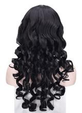 Black Long Wavy Woman Wig Back