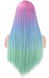 Rainbow Long Woman Wig Back