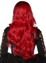 Red and Black Ombre Wig Washable