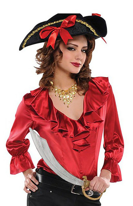 Red Blouse Women Pirate Costume