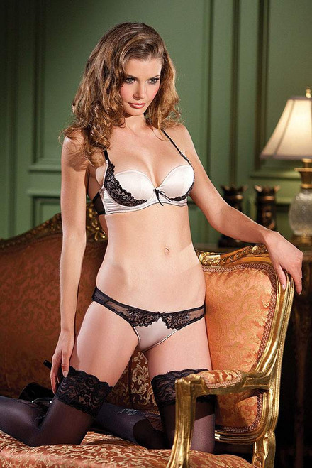Satin & Lace Applique Bra & Panty Set