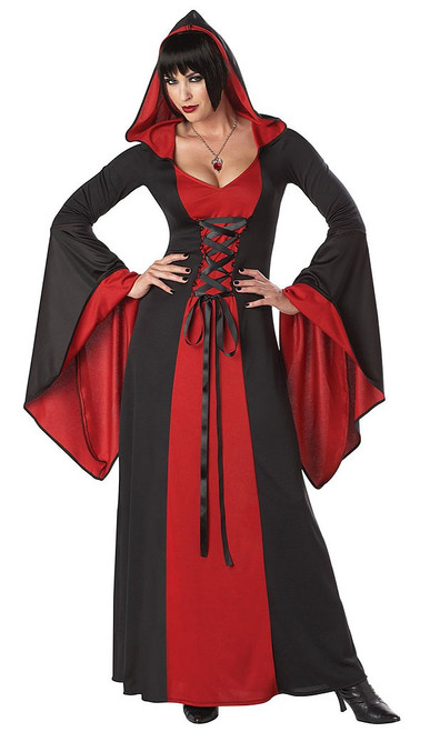 Deluxe Hooded Black/Red Robe