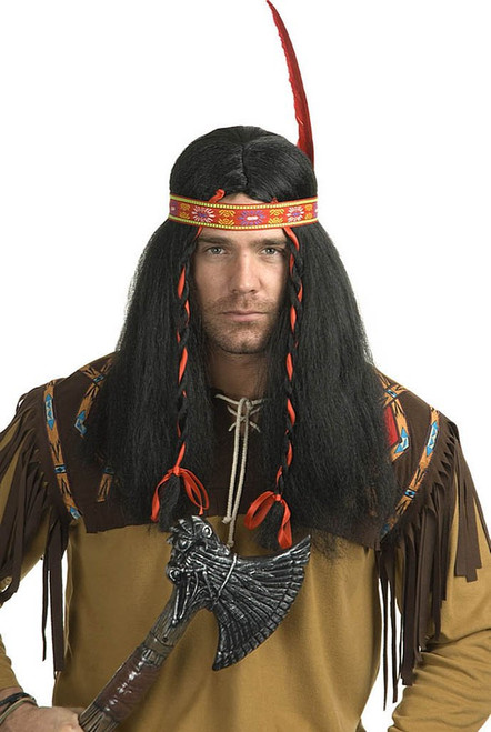 Indian Running Bull Black Wig