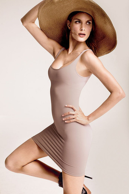 Skinny Scoop Neck Dress Nude