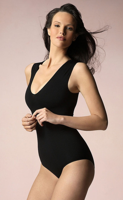 V-Neck Full Bodysuit Black Plus Size