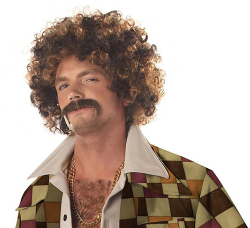 Disco Dirt Bag Wig & Mustache