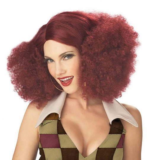 Disco Sensation Burgundy Wig