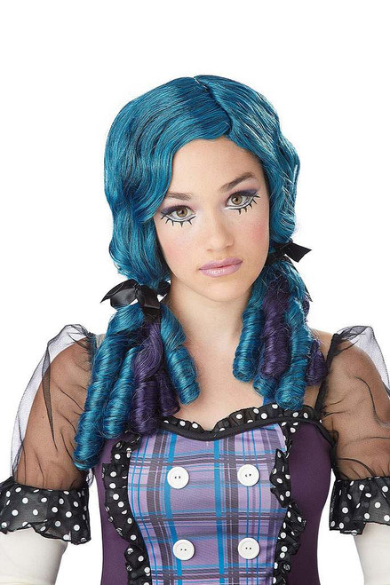 Doll Curls Teal/Purple Wig