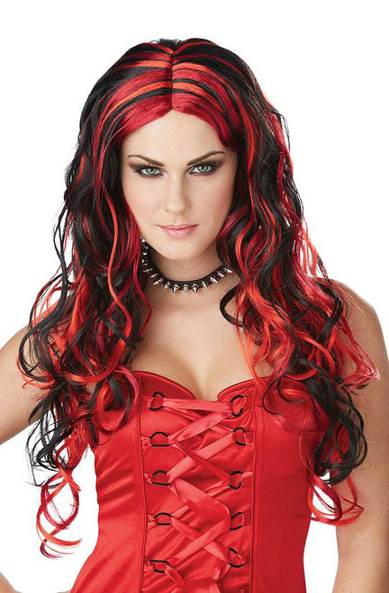 Black and Red Curly Wig