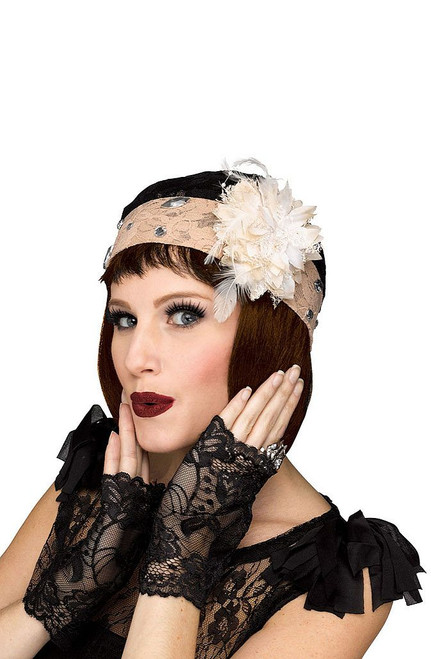 Black & Champagne Cloche & Glove