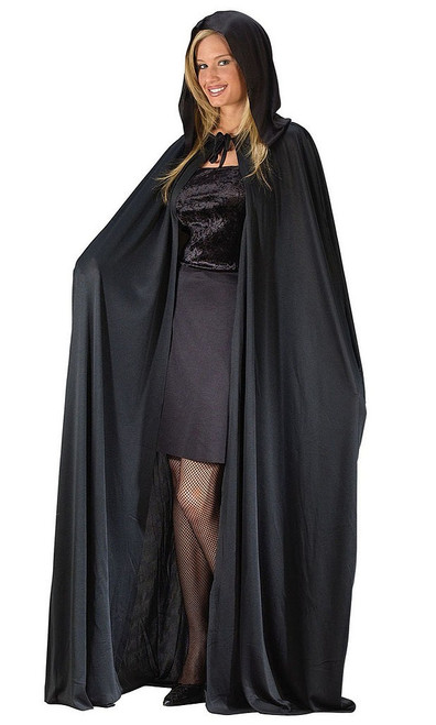 "68"" Hooded Black Cape"