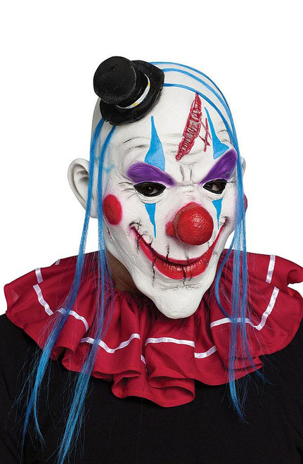 Evil Clown Zombie Mask Blue