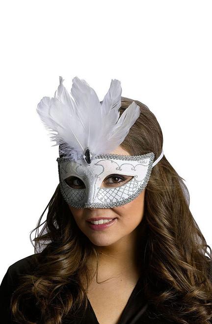 Carnival Mask White/Silver