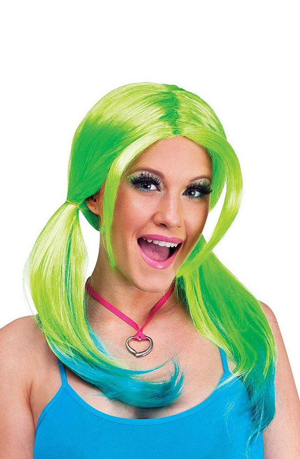 Ombre Pigtail Green/Teal Wig