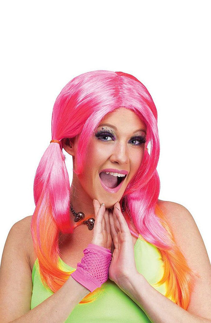Ombre Pigtail Wig Pink/Orange