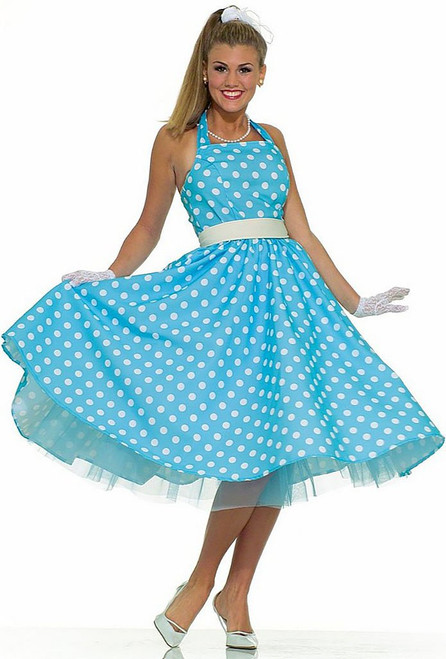 50s Blue Polka Dot Dress Costume
