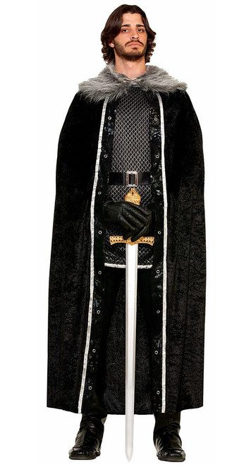 Faux Fur Trimmed Black Cape