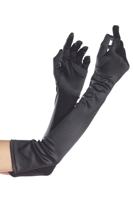 Black Nylon Long Adult Gloves
