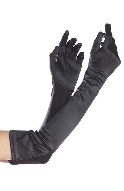 Black Nylon Long Adult Gloves