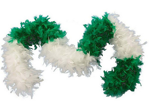 Green and white feather boa