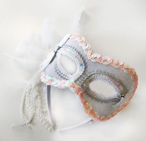 White Venetian Half-Mask