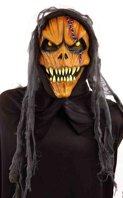 Hooded Scary Pumpkin Mask