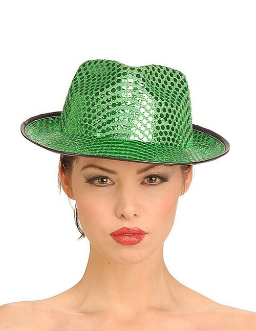Green sequin fedora Hat