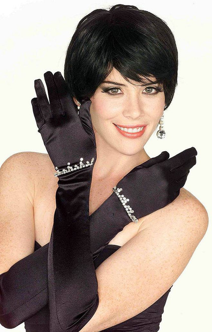 Black Satin Gloves with Rhinestones