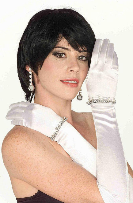 White Rhinestoned Satin Gloves