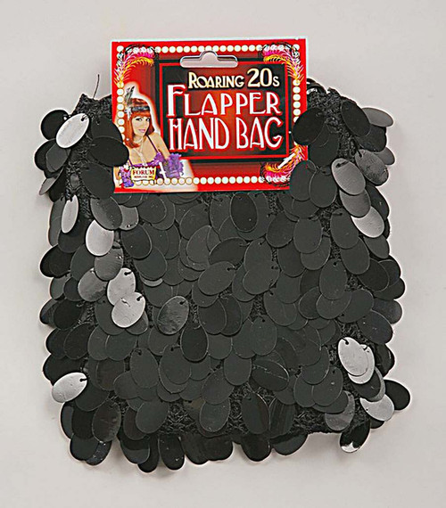 Sequin Black Flapper Bag