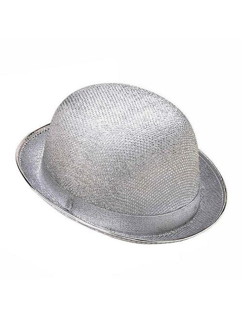 Glitter Mesh Derby Silver Hat