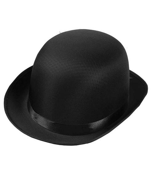 Black Satin Derby Bowler Hat