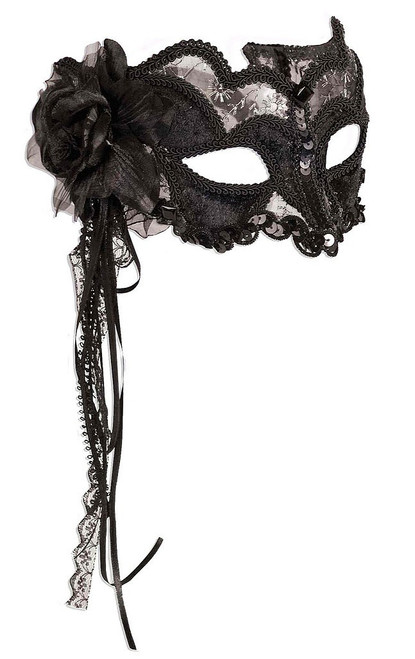 Black Mask with Black Lace