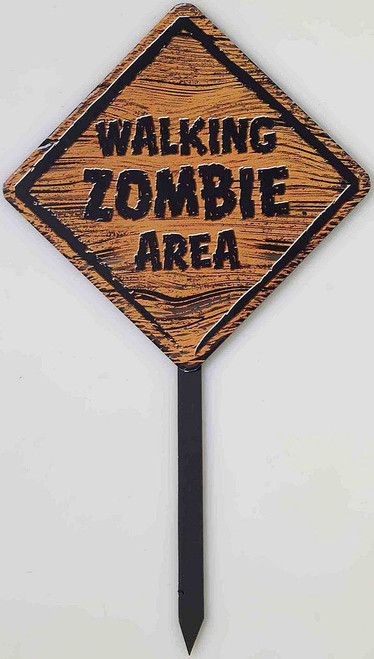 Zombie Warning Sign with Stake