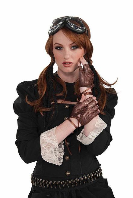 Steampunk fingerless gloves brown
